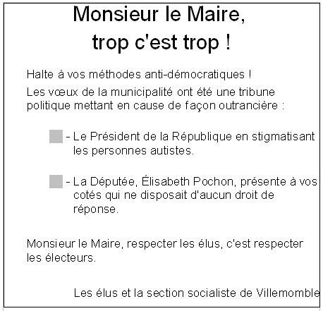 Patrice Calméjane, Maire de Villemomble : les voeux !!! dans actualité locale trop1