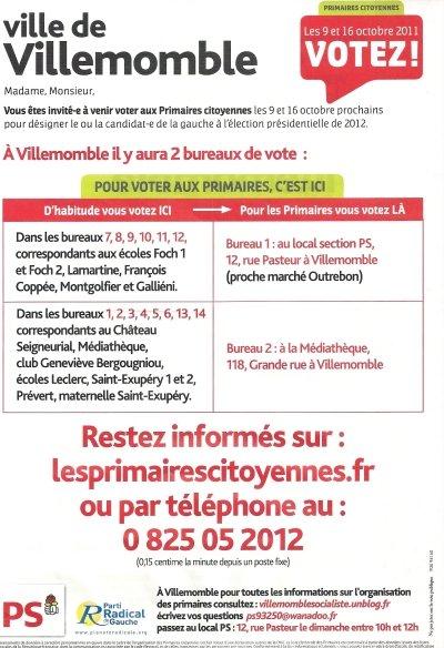 Villemomble, les Primaires citoyennes : le 9 et le 16 octobre, je vote. dans Actualité du parti primaires1