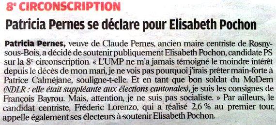 Rosny sous bois, soutien à Elisabeth Pochon dans Actualité du parti article-le-parisien-Pernes