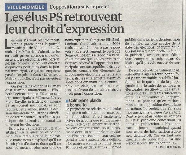 Villemomble : les élus PS retrouvent leur droit d'expression dans actualité locale parisien_11_10_2013