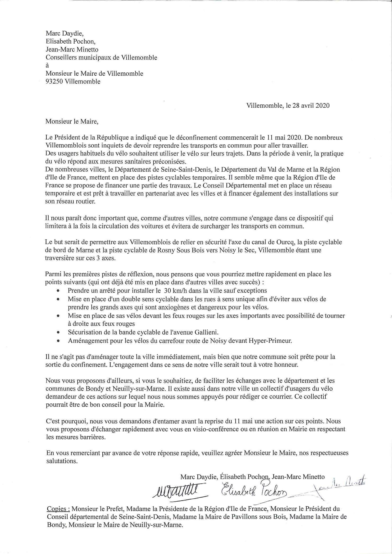 20200428 lettre Maire de Villemomble